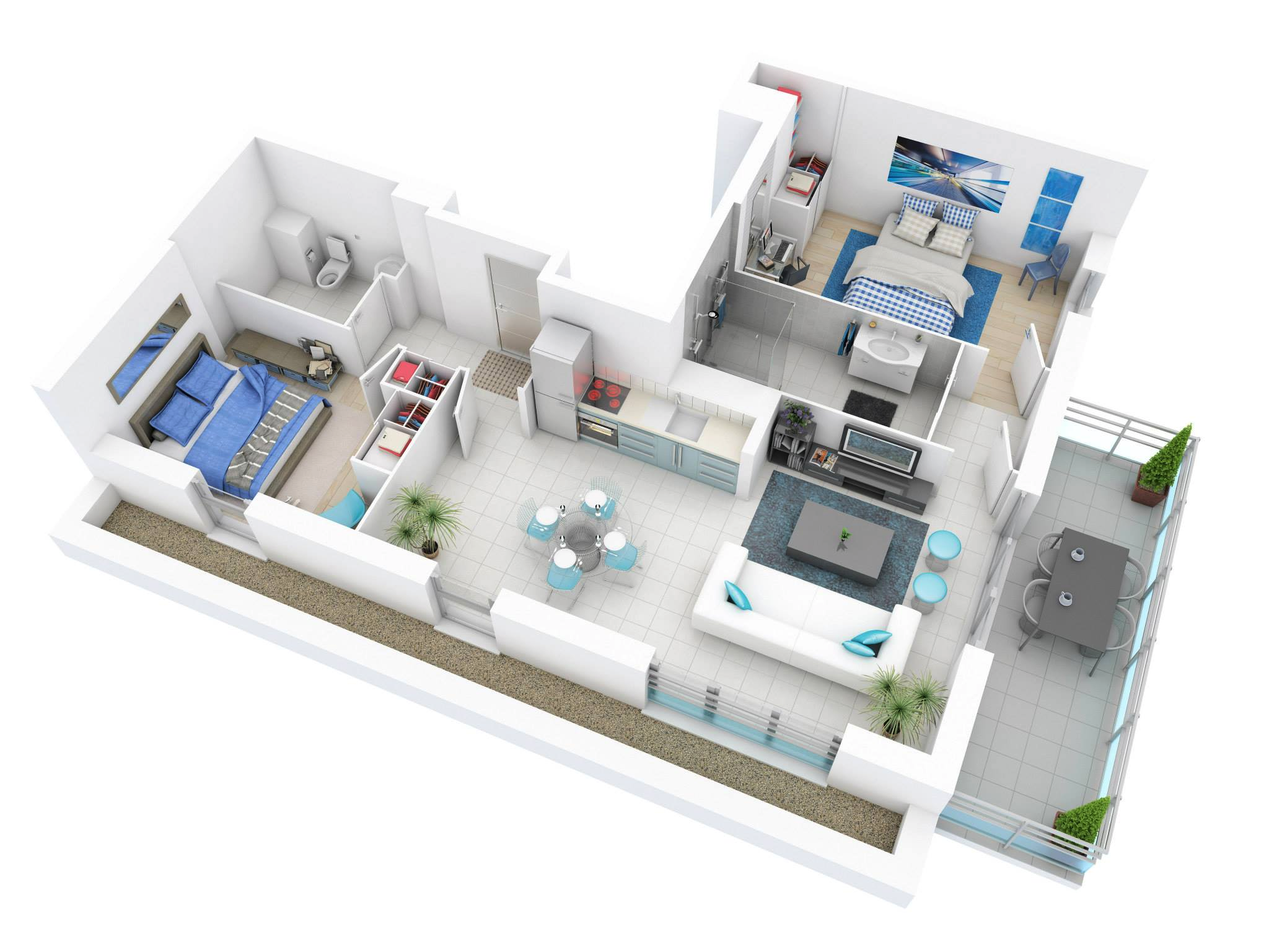 25 more 2 bedroom 3d floor plans for Plans en 3d