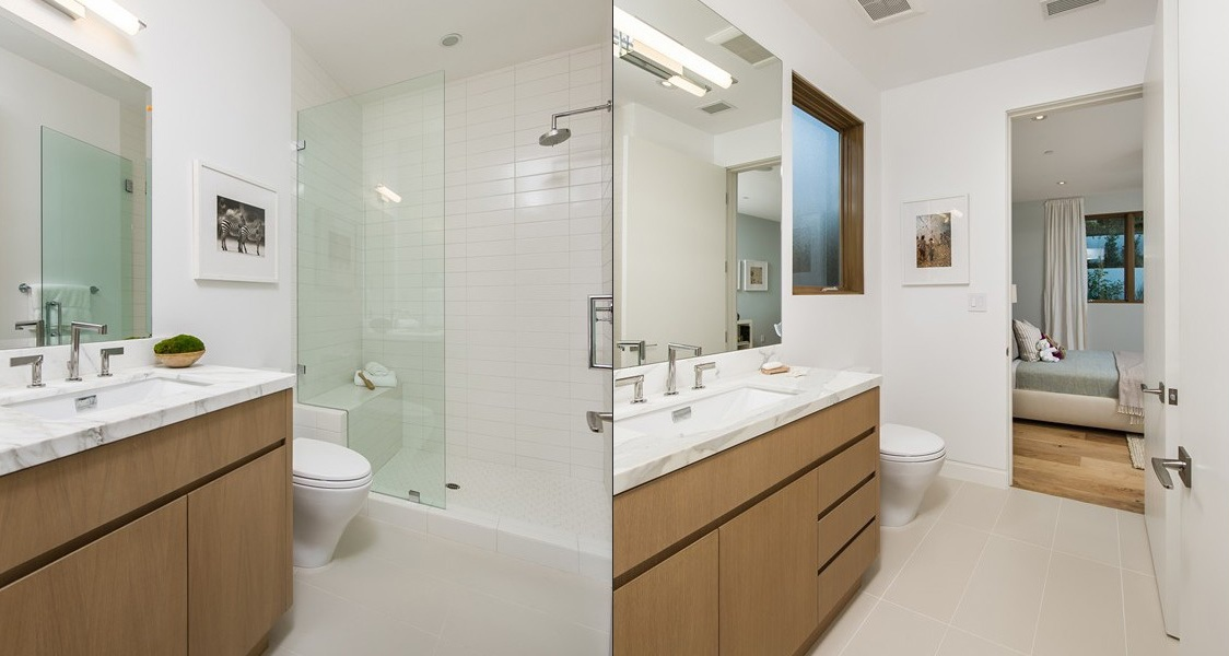 White Tile Bath - Beach adjacent home with space for luxury entertaining