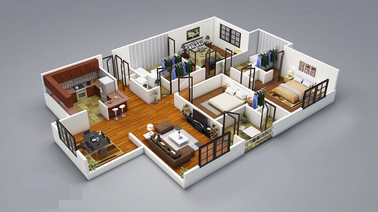 25 three bedroom house apartment floor plans for Wood house design software