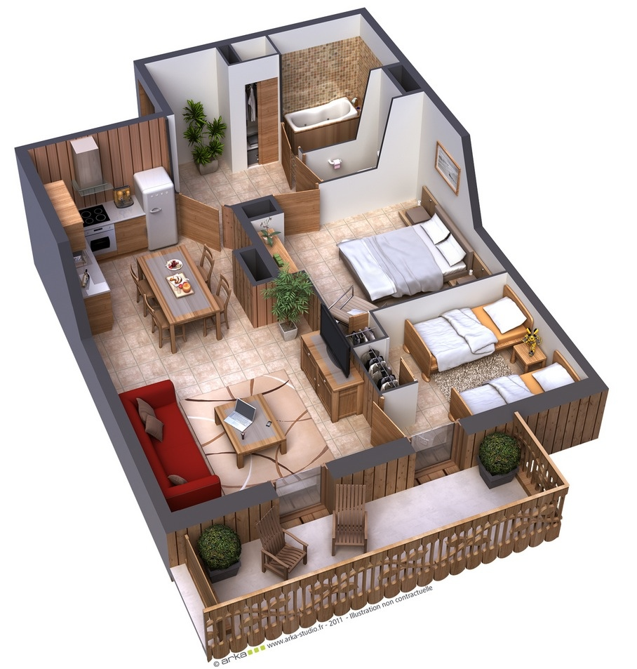 25 two bedroom house apartment floor plans for Planos de casas 3d
