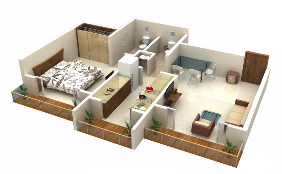 25 one bedroom houseapartment plans - 3d Design Bedroom