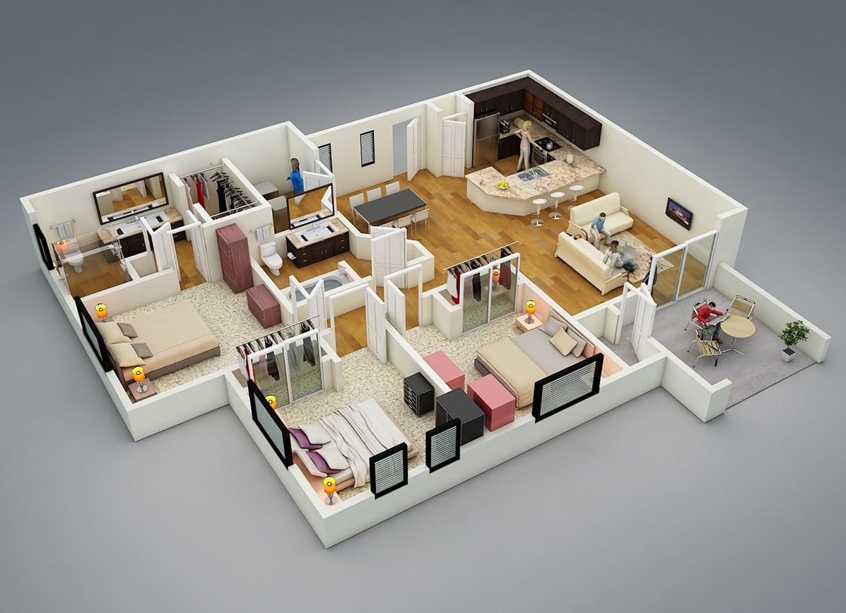 3d 3 bedroom house plans -
