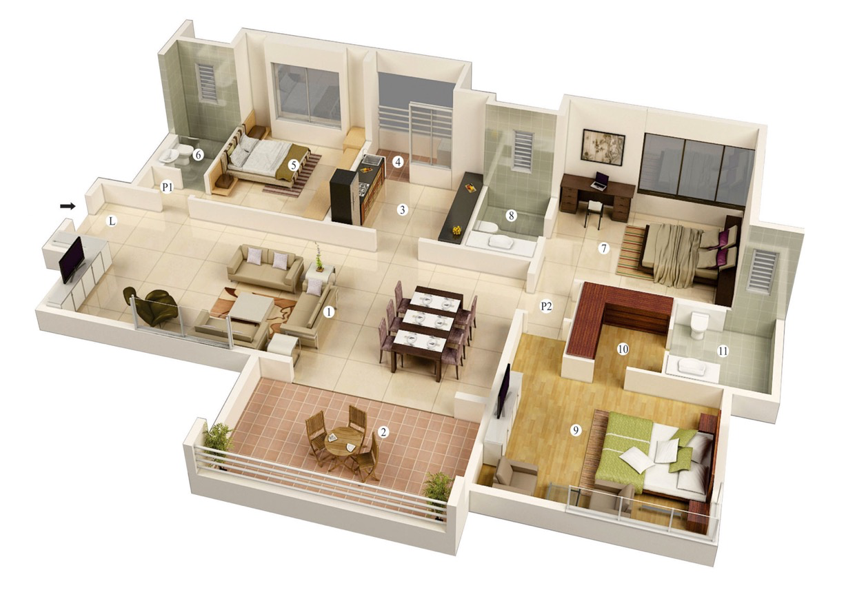 25 more 3 bedroom 3d floor plans for Modern three bedroom house plans
