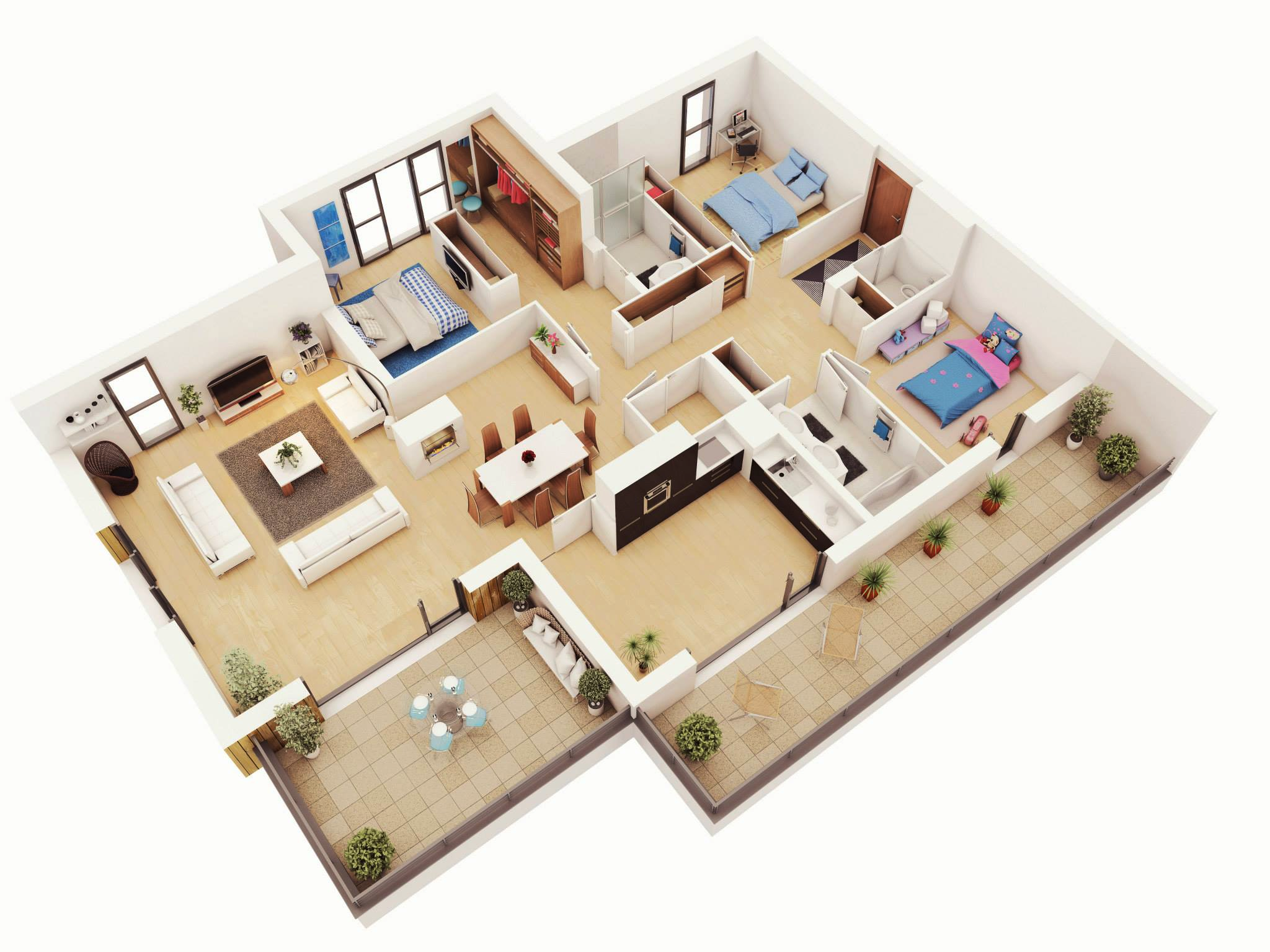 25 more 3 bedroom 3d floor plans for Three bedroom house layout