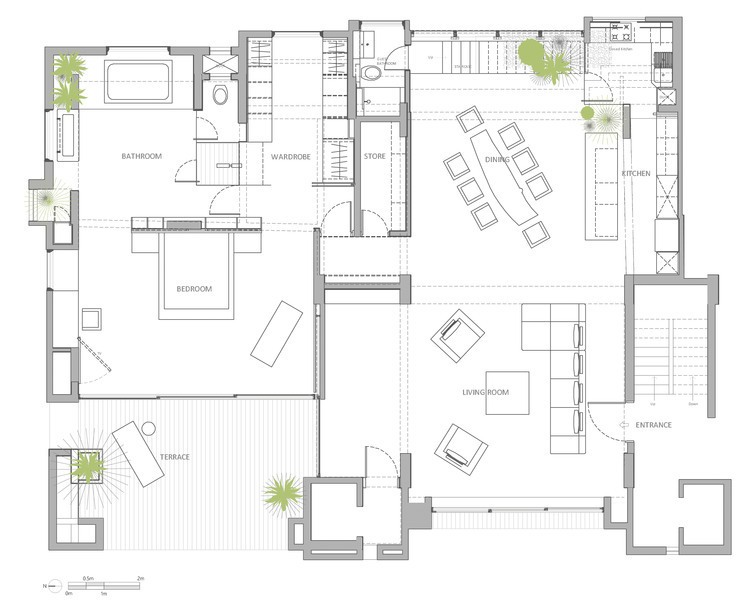 Apartment floor plan interior design ideas for Drawing room floor design