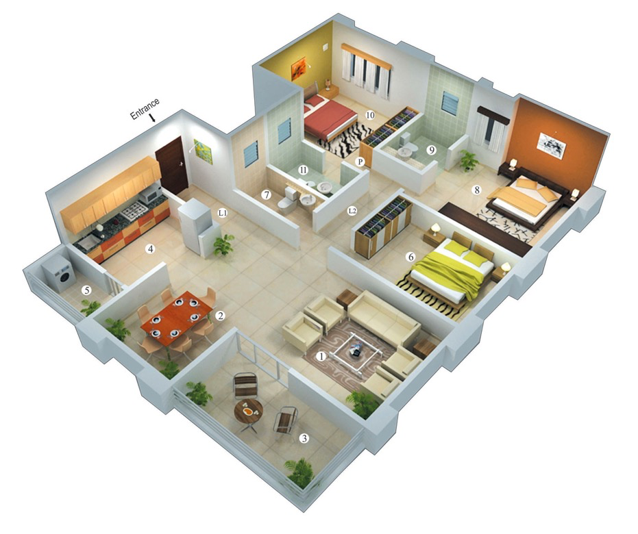 25 more 3 bedroom 3d floor plans for Home design 3d view