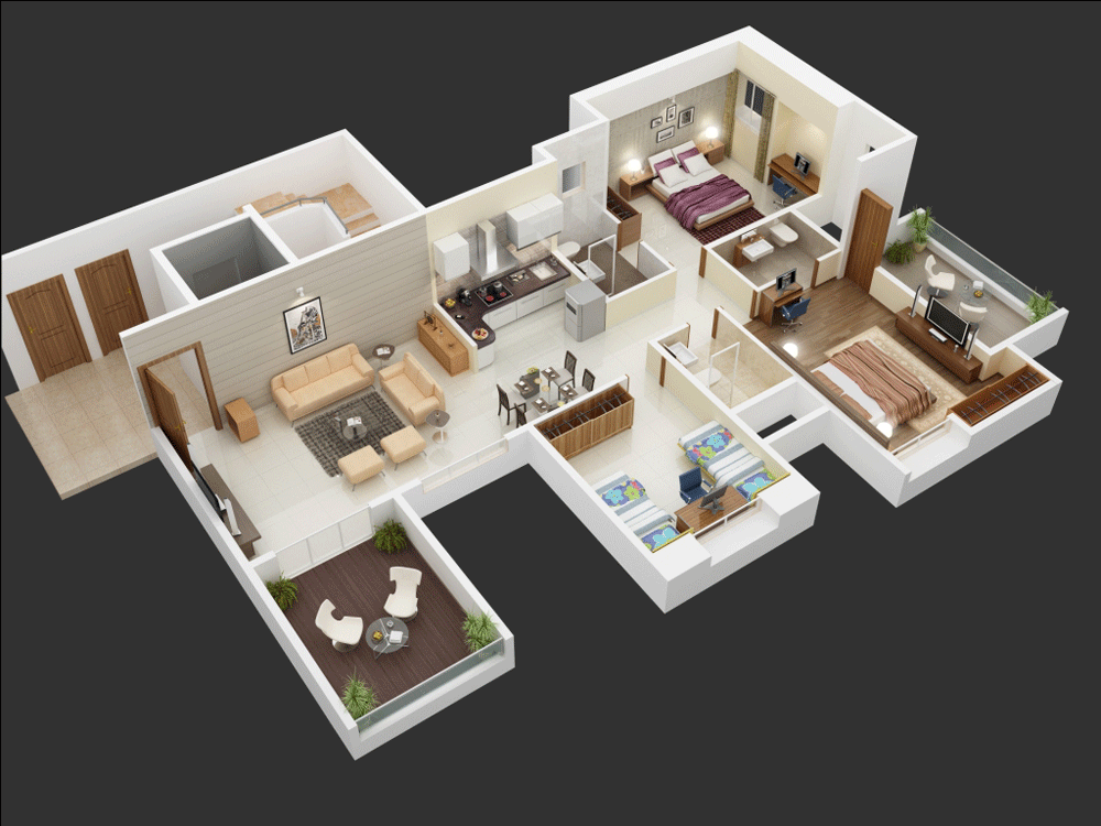25 more 3 bedroom 3d floor plans for One big room apartment