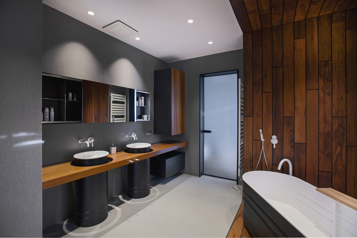 Big industrial bathroom interior design ideas - Salle de bain bois et noir ...