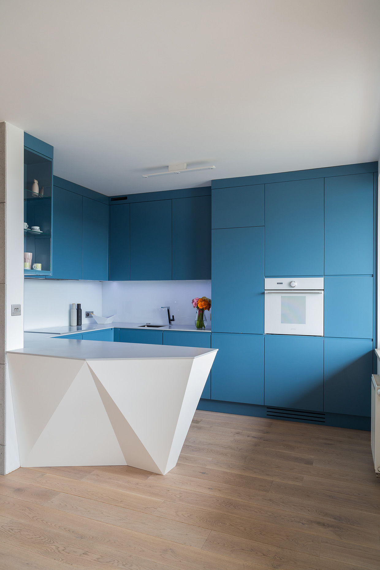 Blue Cabinetry - 2 creative apartments featuring whimsical art