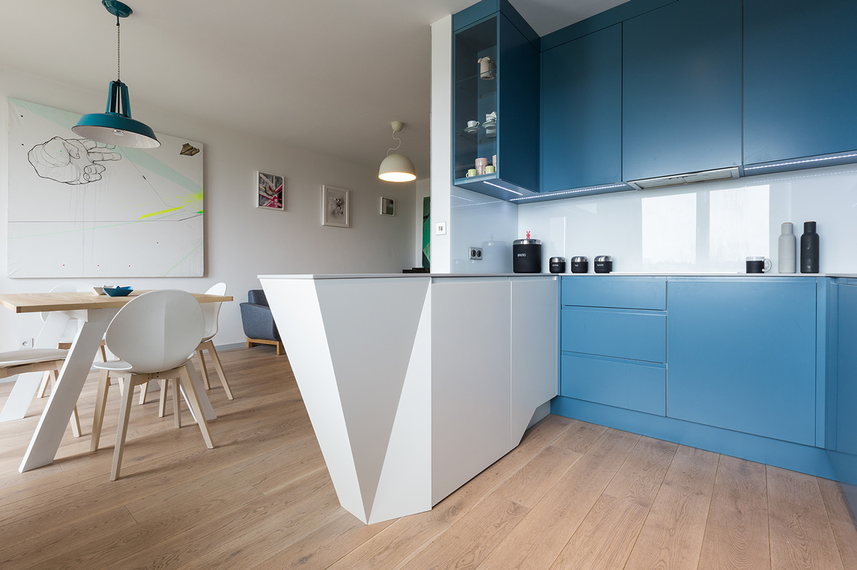 Blue Kitchen - 2 creative apartments featuring whimsical art