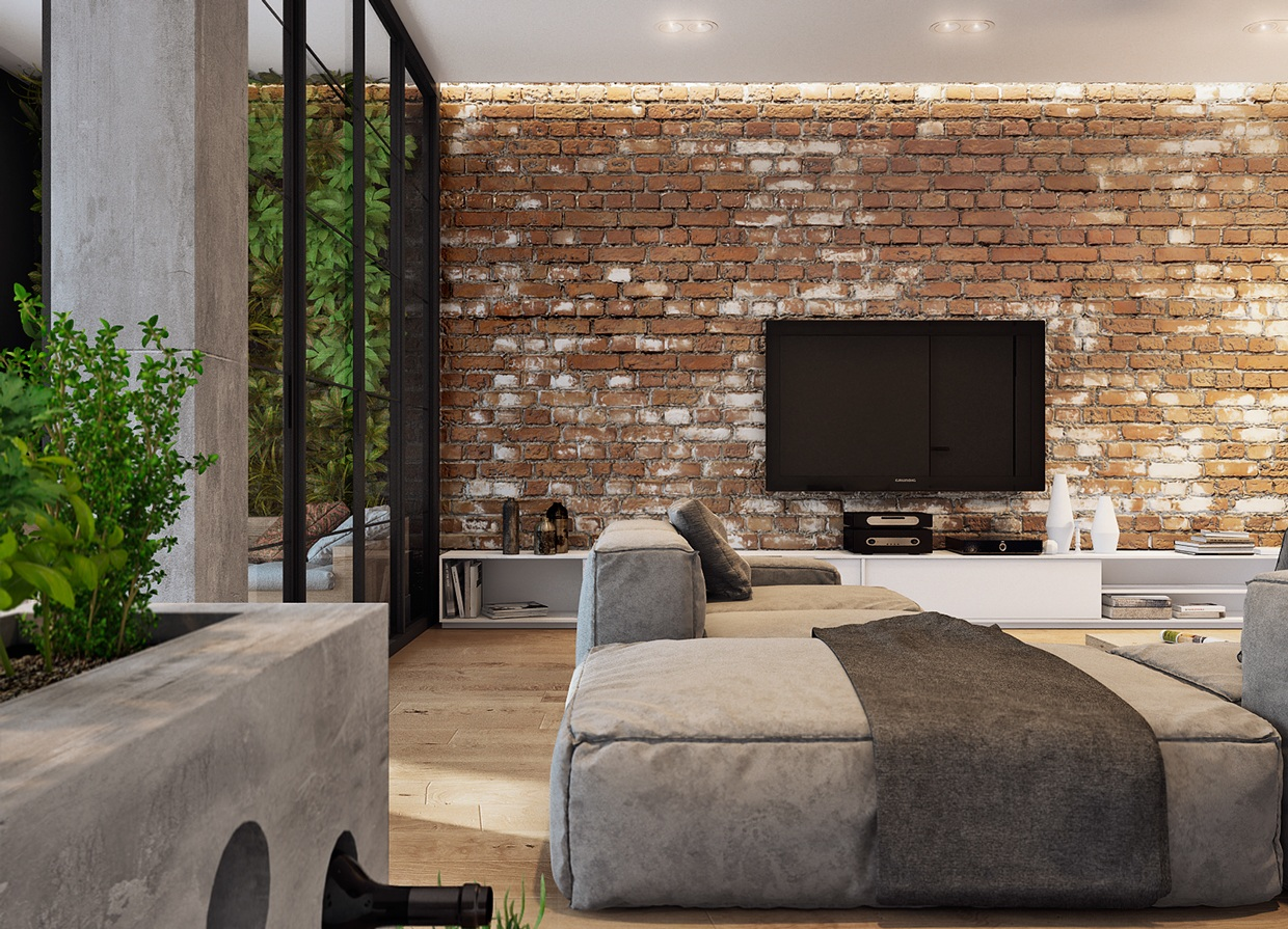 House Interior Wall Design a ravishing stoned interior wall brings a cool feeling to the space 5 Houses That Put A Modern Twist On Exposed Brick