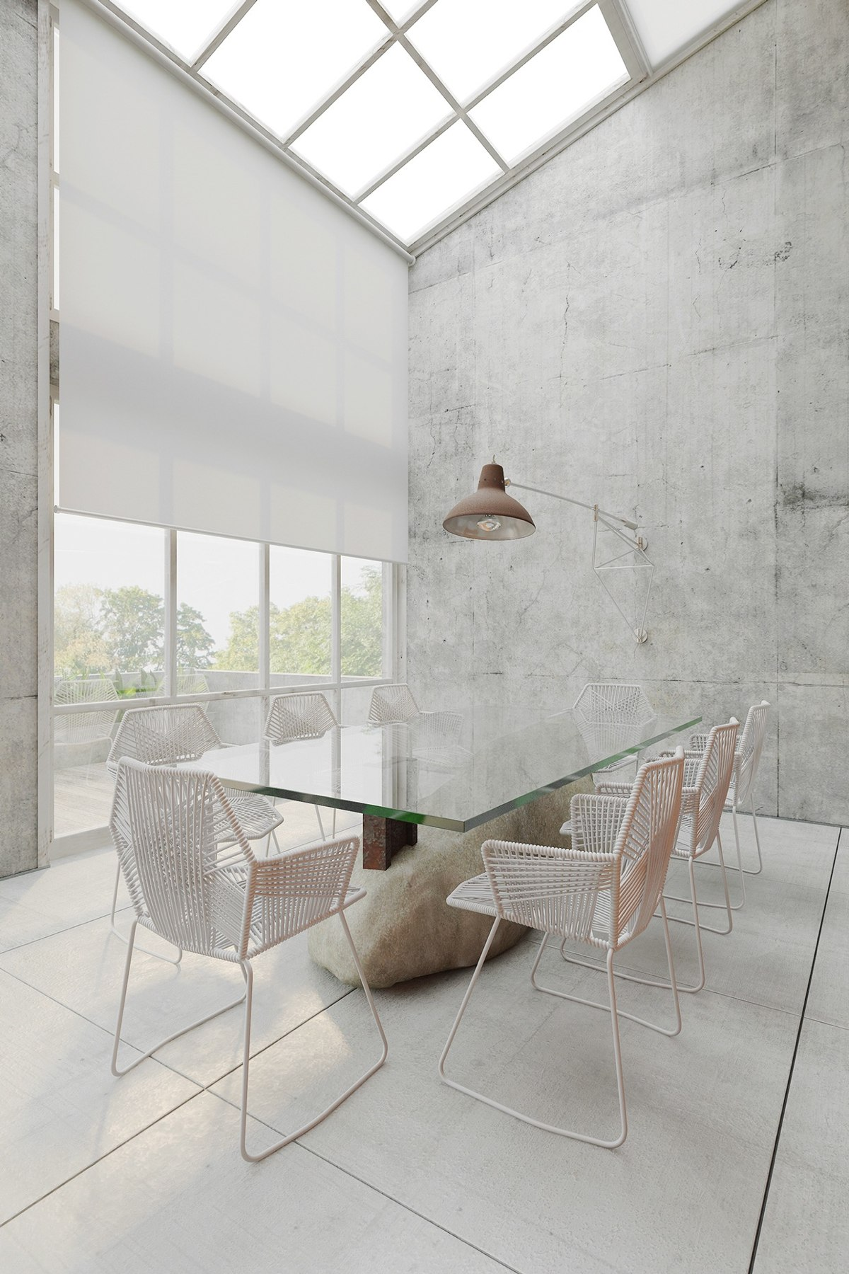 Bright White Dining Room - Homes that use a concrete finish to achieve beautiful results
