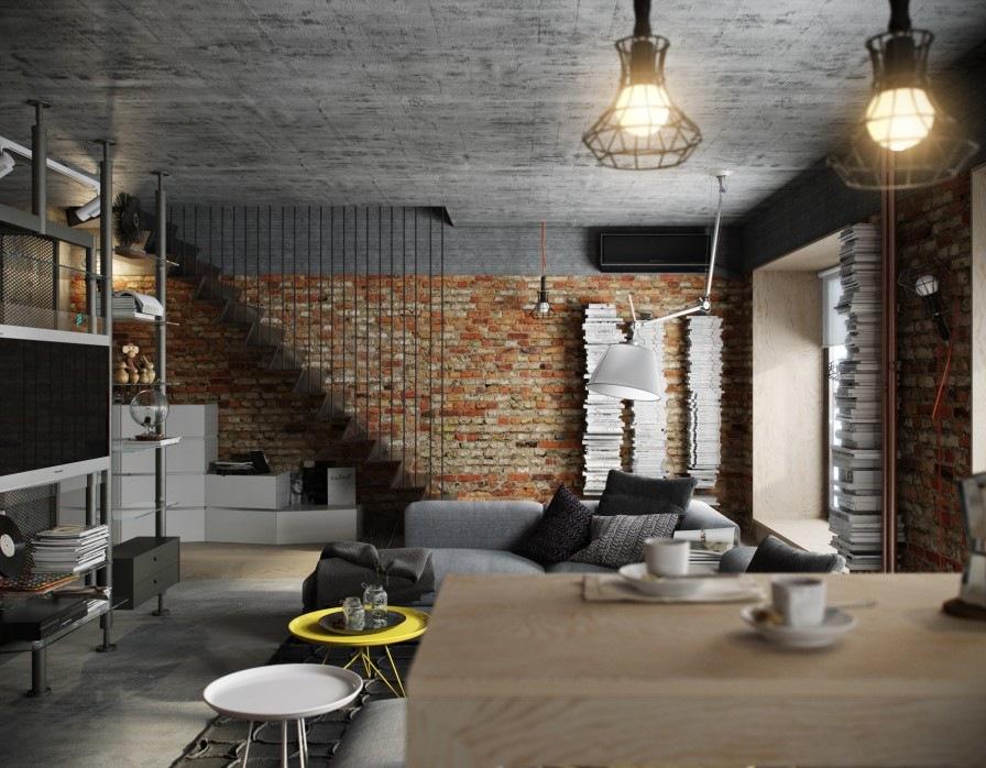 Caged Light Fixtures - 5 houses that put a modern twist on exposed brick