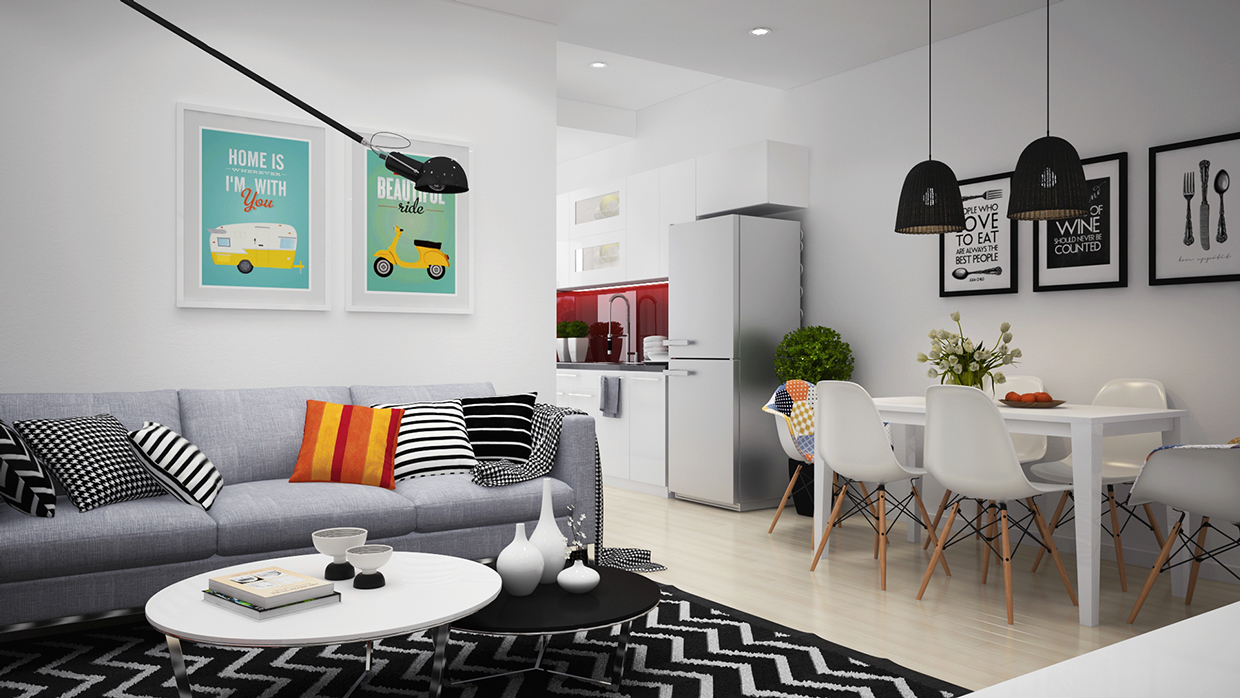 Apartment Colors scandinavian apartment with adorable art and classic colors