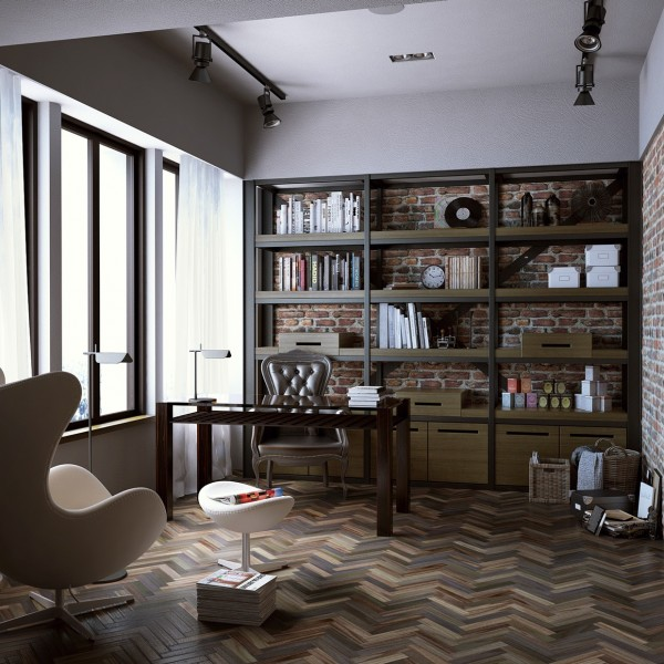 The brick carries over very successfully into the home office area that features chevron striped hardwood flooring. There is no better pairing, it seems, then hardwood flooring and exposed red bricks.