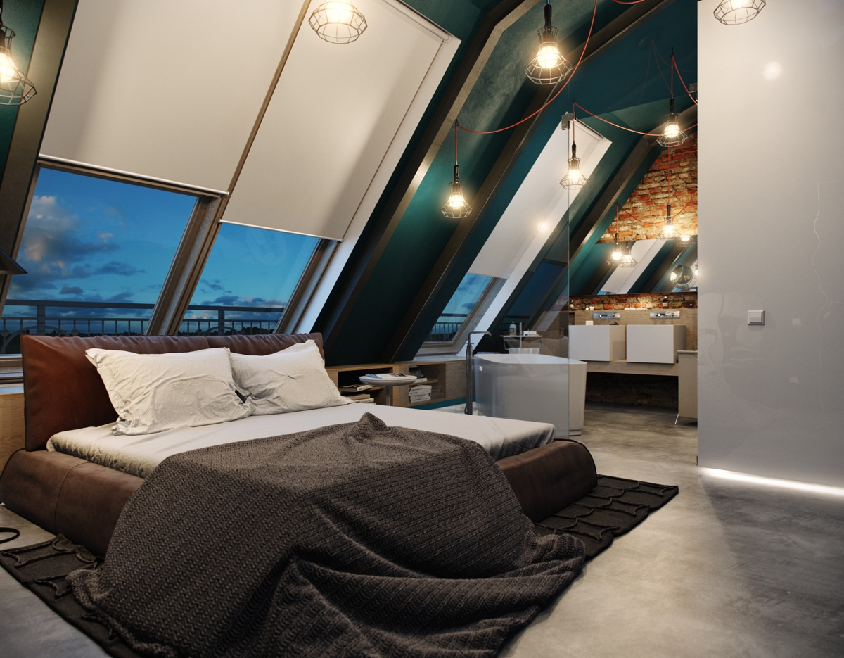 5 houses that put a modern twist on exposed brick for Modern loft bedroom