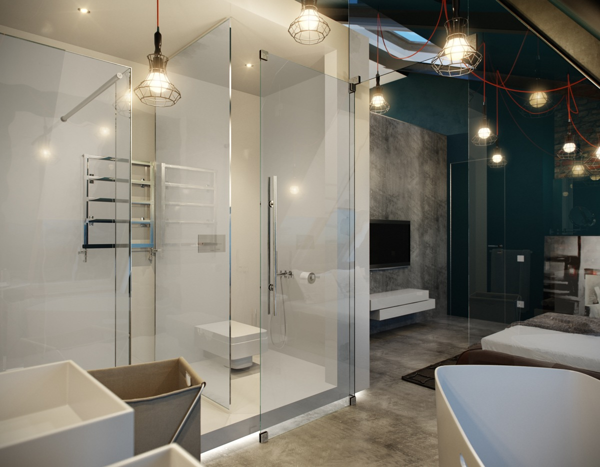 Cool Industrial Shower - 5 houses that put a modern twist on exposed brick