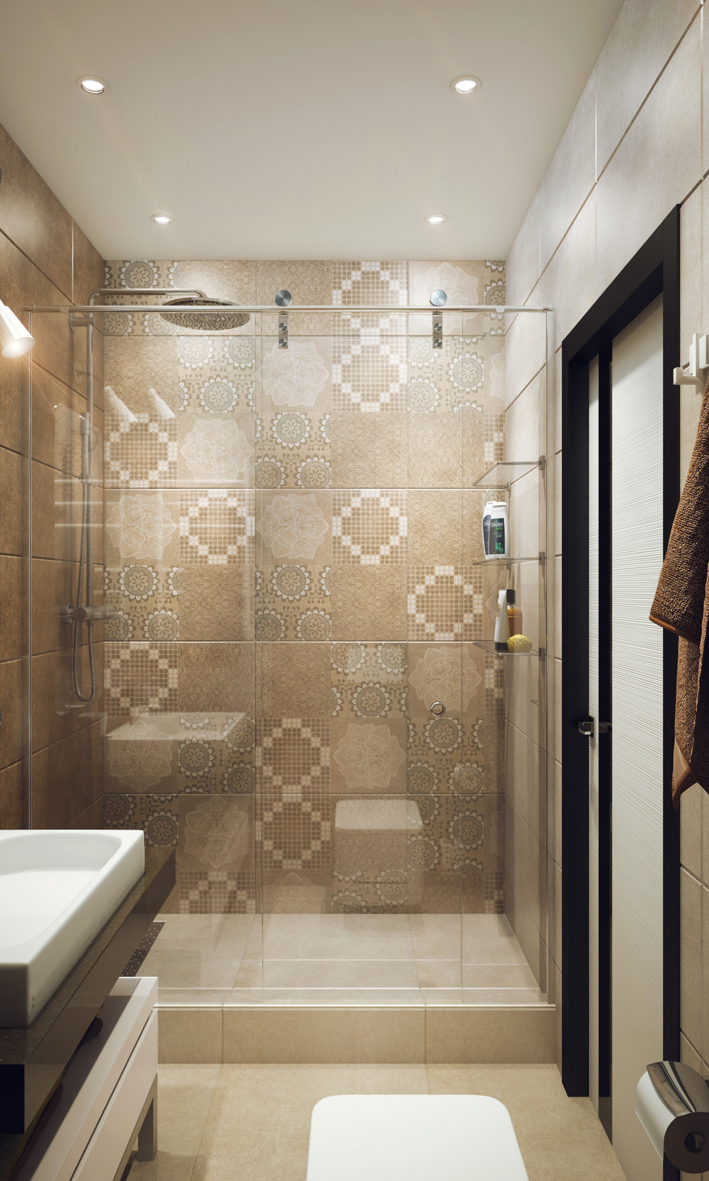 Cool Tiled Shower - Minimalist 1 bedroom apartment designed for a young man