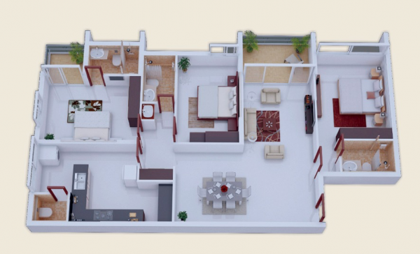 Every bedroom in this layout has its own area and a private bath, which is ideal for most people.