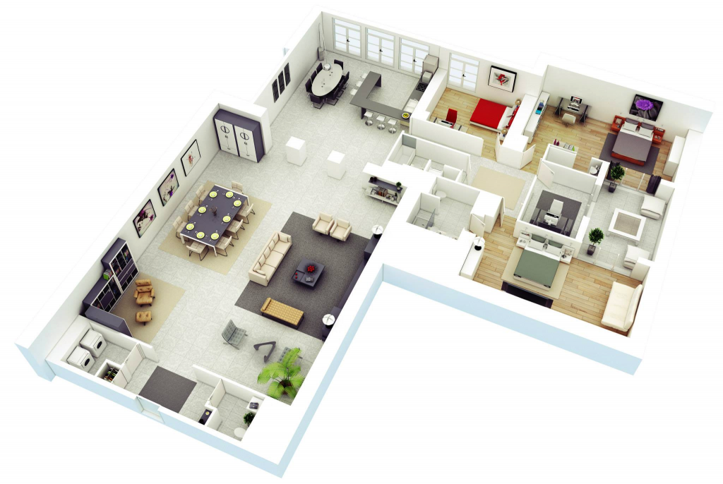 25 more 3 bedroom 3d floor plans for Three bedroom apartment layout