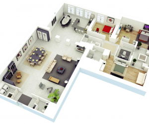 Bedroom 3D Design 25 more 2 bedroom 3d floor plans