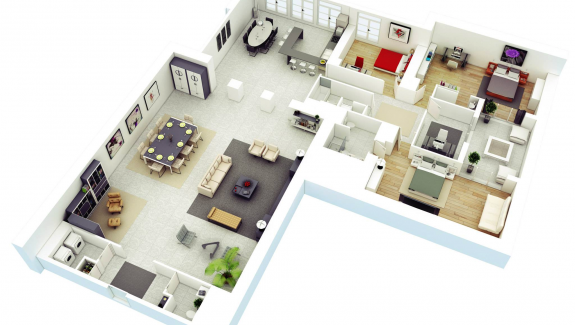 Simple  More Bedroom D Floor Plans