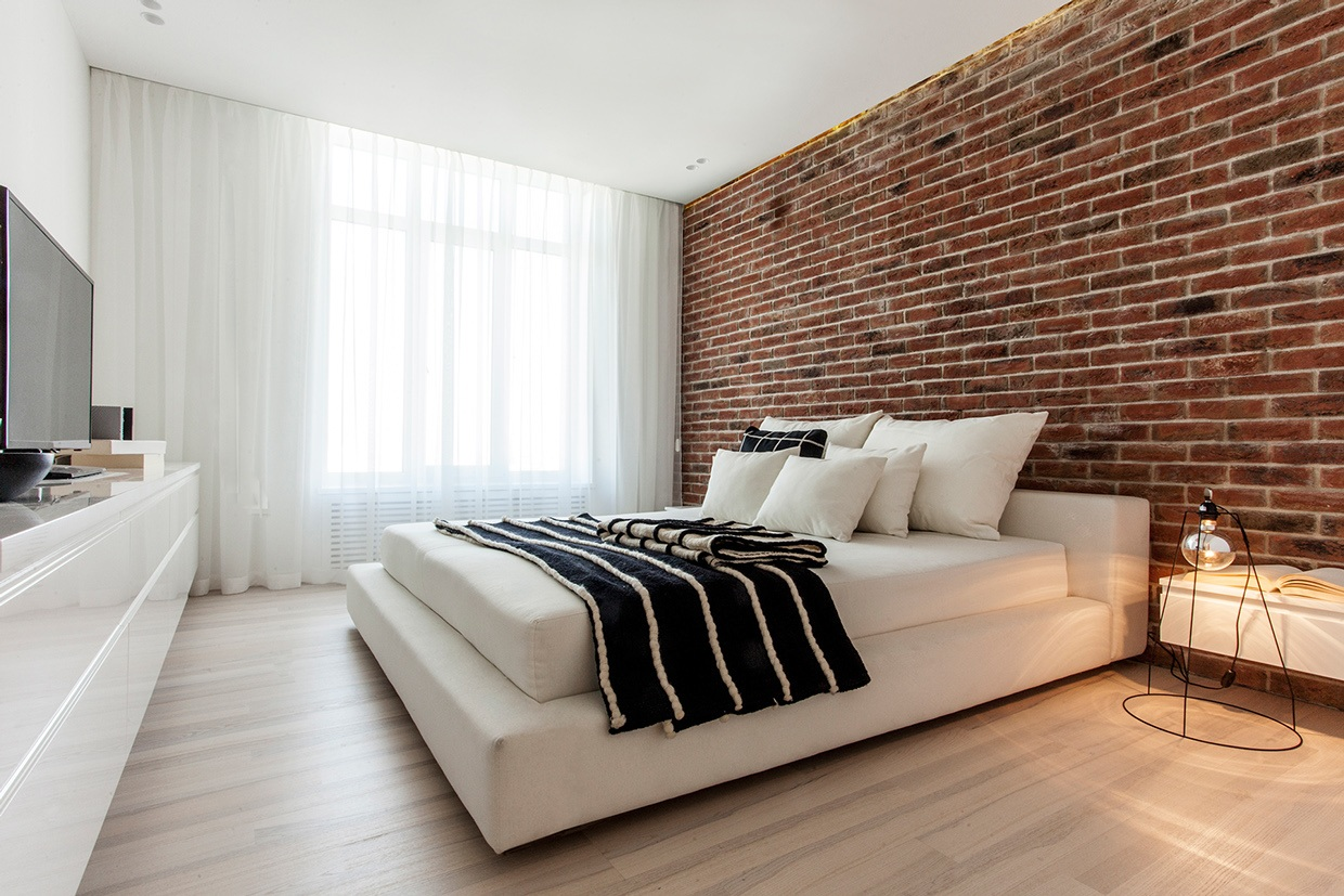 Exposed brick bedroom Interior Design Ideas