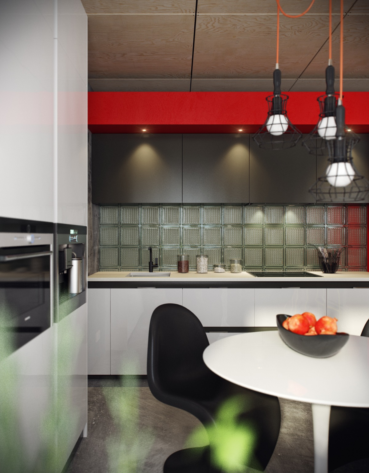 Frosted Glass Backsplash - 5 houses that put a modern twist on exposed brick