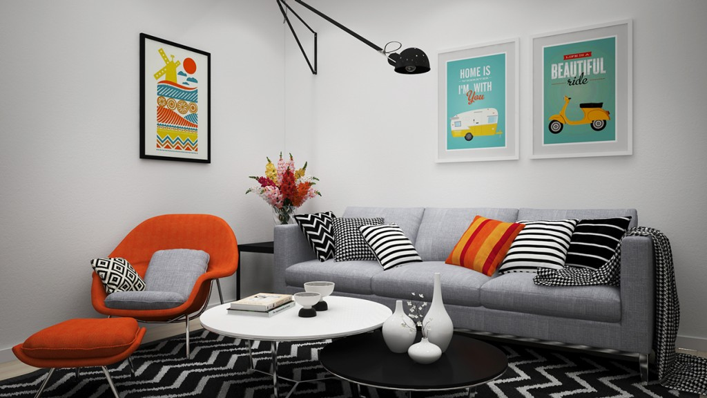scandinavian apartment  adorable art  classic colors