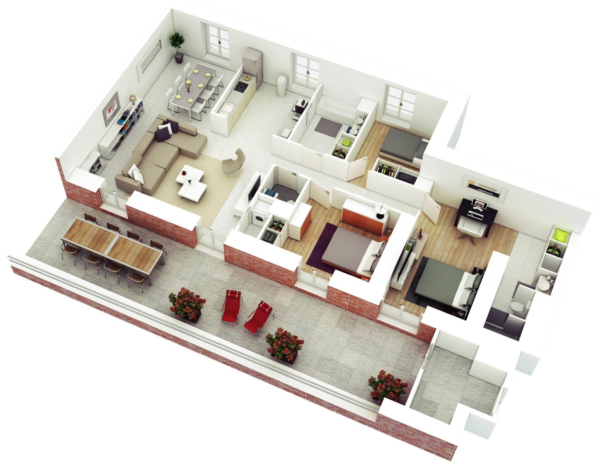 25 more 3 bedroom 3d floor plans for Home plans for entertaining