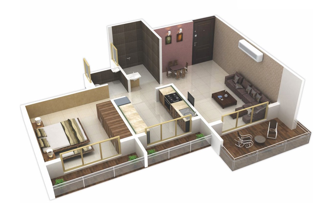 25 one bedroom house apartment plans for One big room apartment