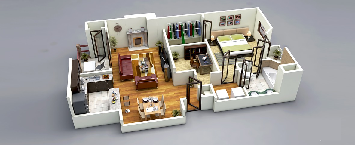 2 visualizer 3d floorplanz this one bedroom - One Bedroom House Interior Design