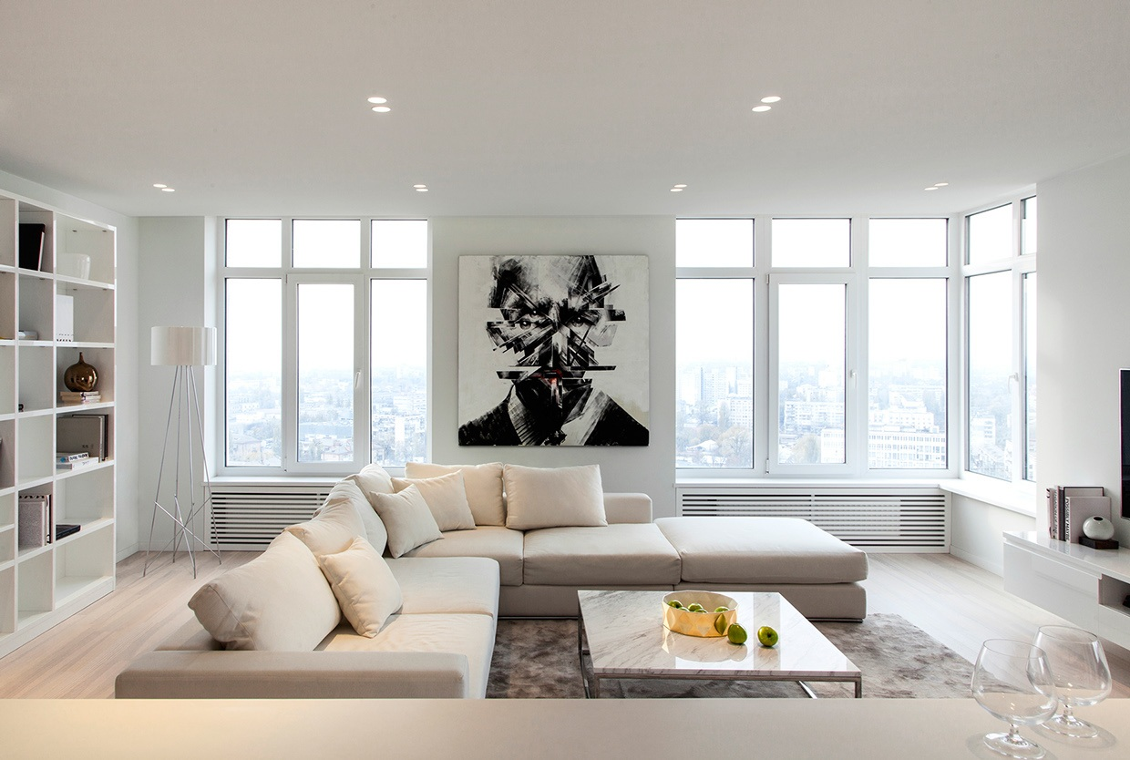 Large Sectional Sofa - 3 sparkling apartments that shine with wonderful white