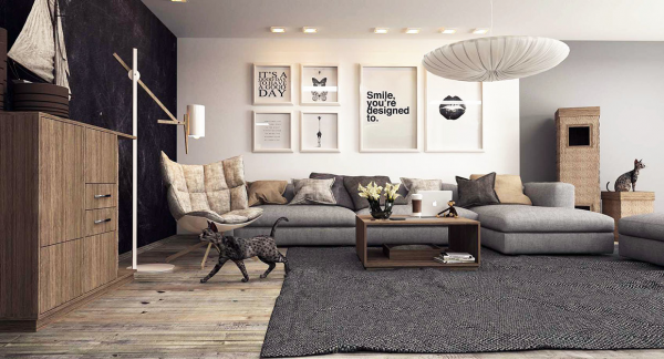 A cool, neutral color palette keeps this living room simply chic.