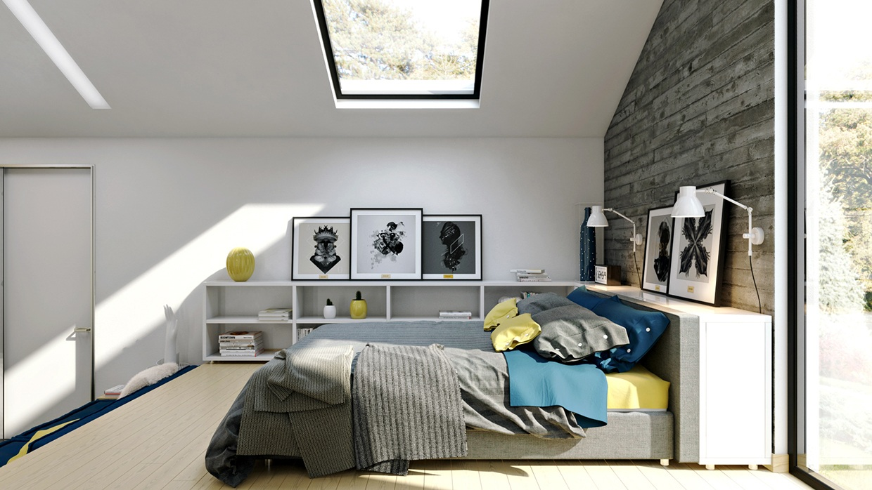Loft Bed Ideas - Homes that use a concrete finish to achieve beautiful results
