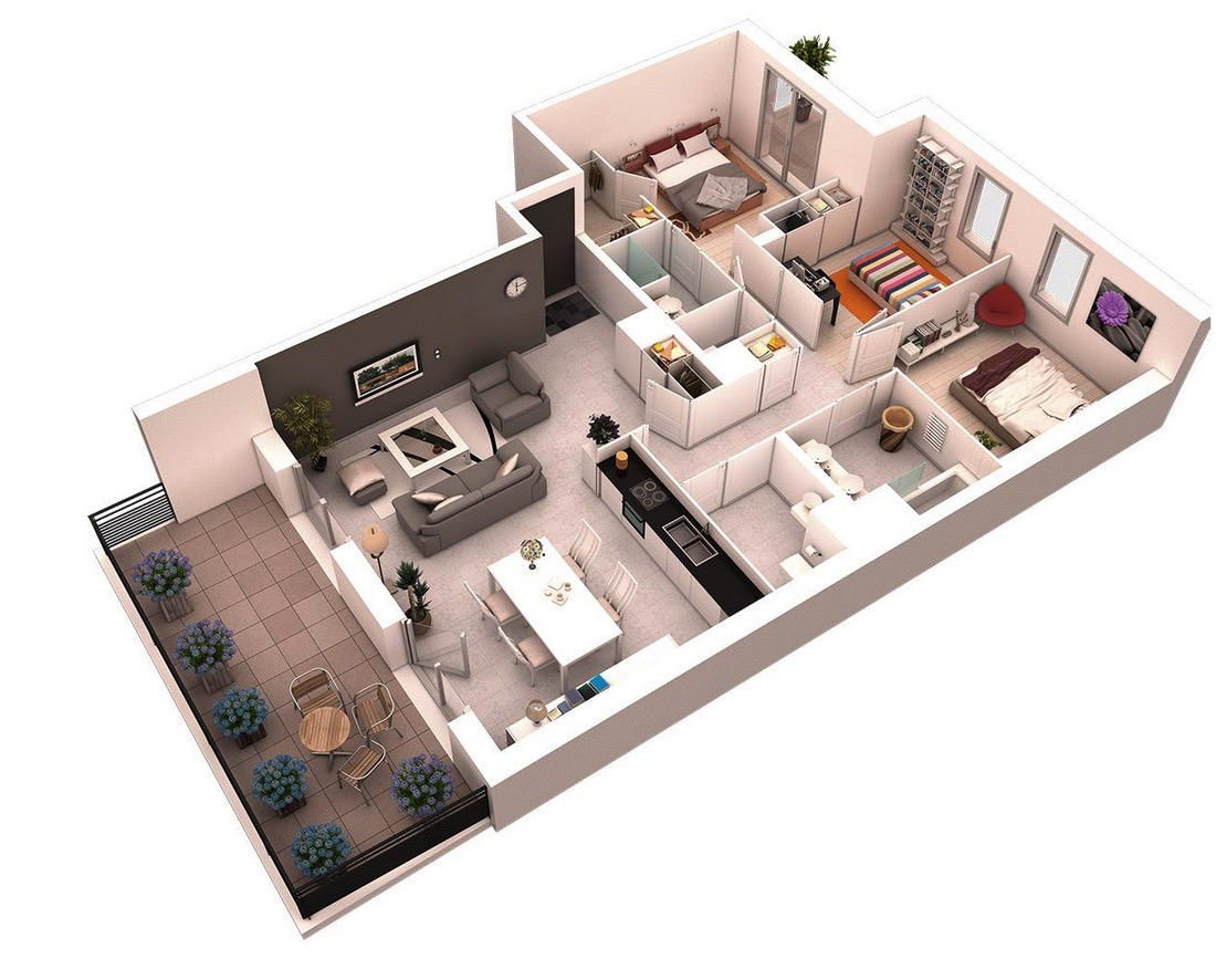 Simple House Plan With 2 Bedrooms 3d 3 bedroom floor plans for narrow apartment. 25 more 3 bedroom 3d