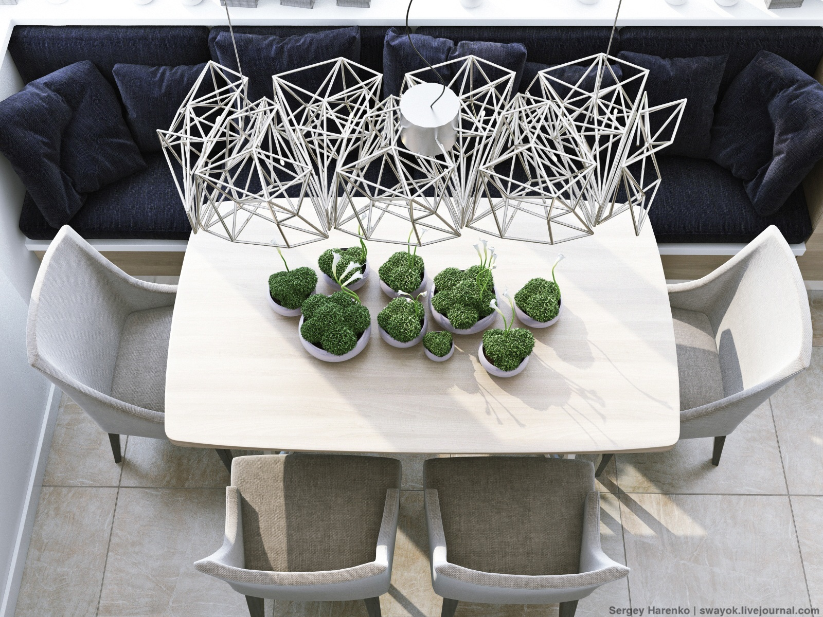 Modern Dining Table - 3 sparkling apartments that shine with wonderful white