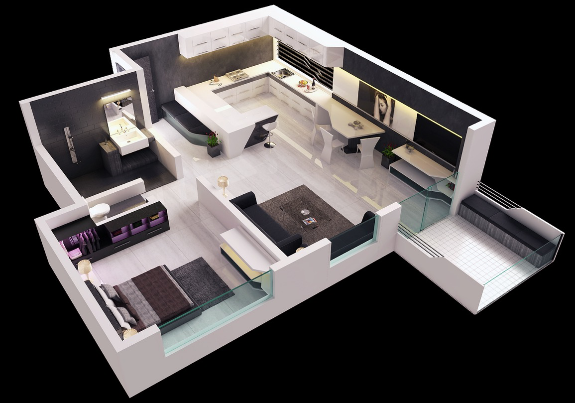 25 one bedroom house apartment plans for Modern 2 bedroom apartment design