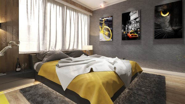Yellow is a dominating color in this particular bedroom, which could be a bit loud. However, by cutting the effects of the bright yellow with cool grays as well as soft textured bedding, the room instead feels soft and soothing.
