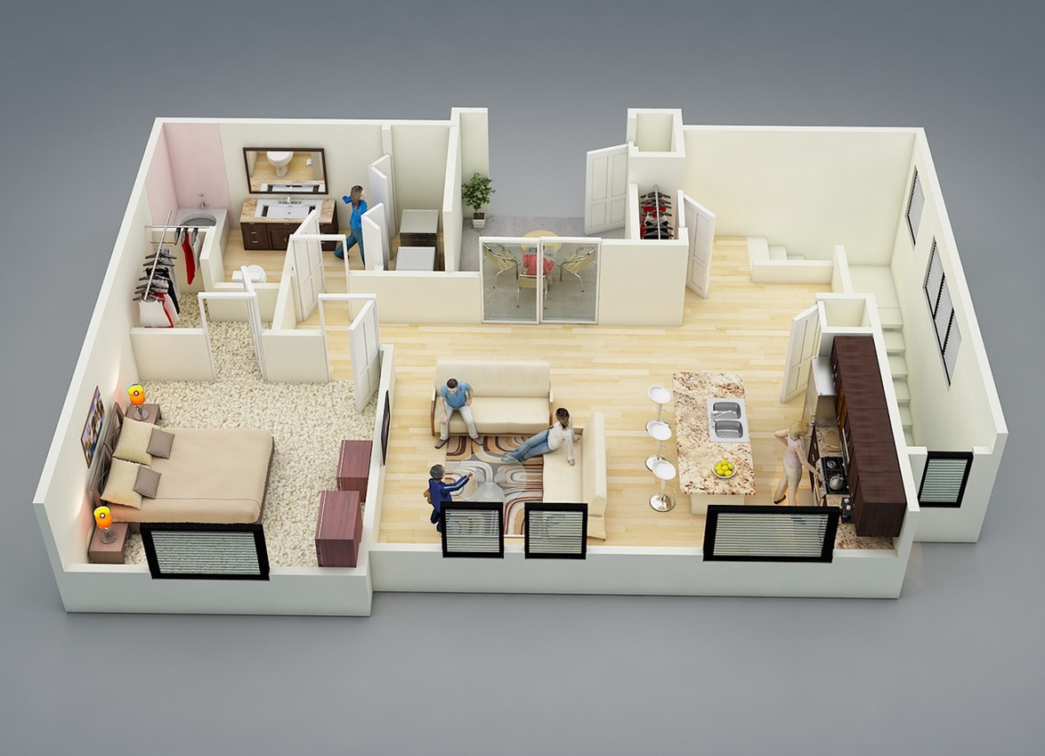 25 one bedroom houseapartment plans - One Bedroom Apartment Design