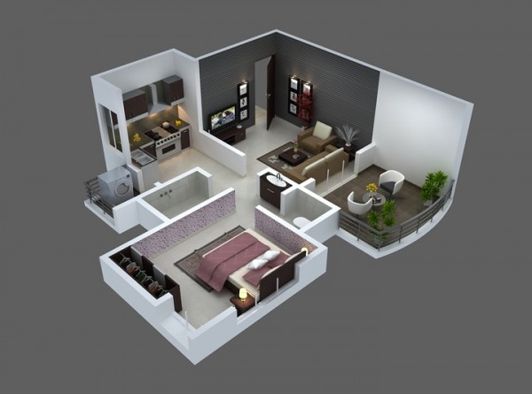 25 one bedroom house apartment plans for Home design 50m2