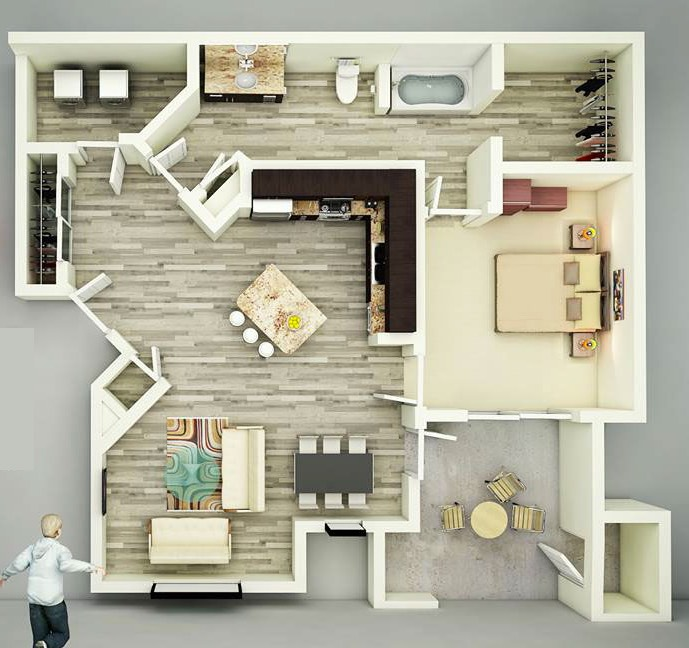 Overhead view floorplan interior design ideas for Living room ideas for a one bedroom apartment