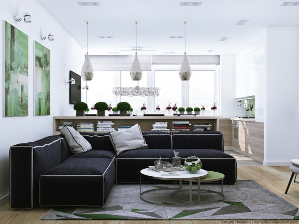 The second space comes from designer Sergey Harneko and while it does not use nearly as much white as the first, it uses a preponderance of white to offset the other colors in the design, especially green.