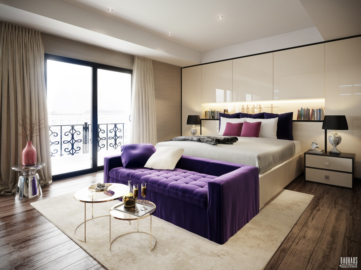 Purple tufted sofa interior design ideas for Photos chambre a coucher