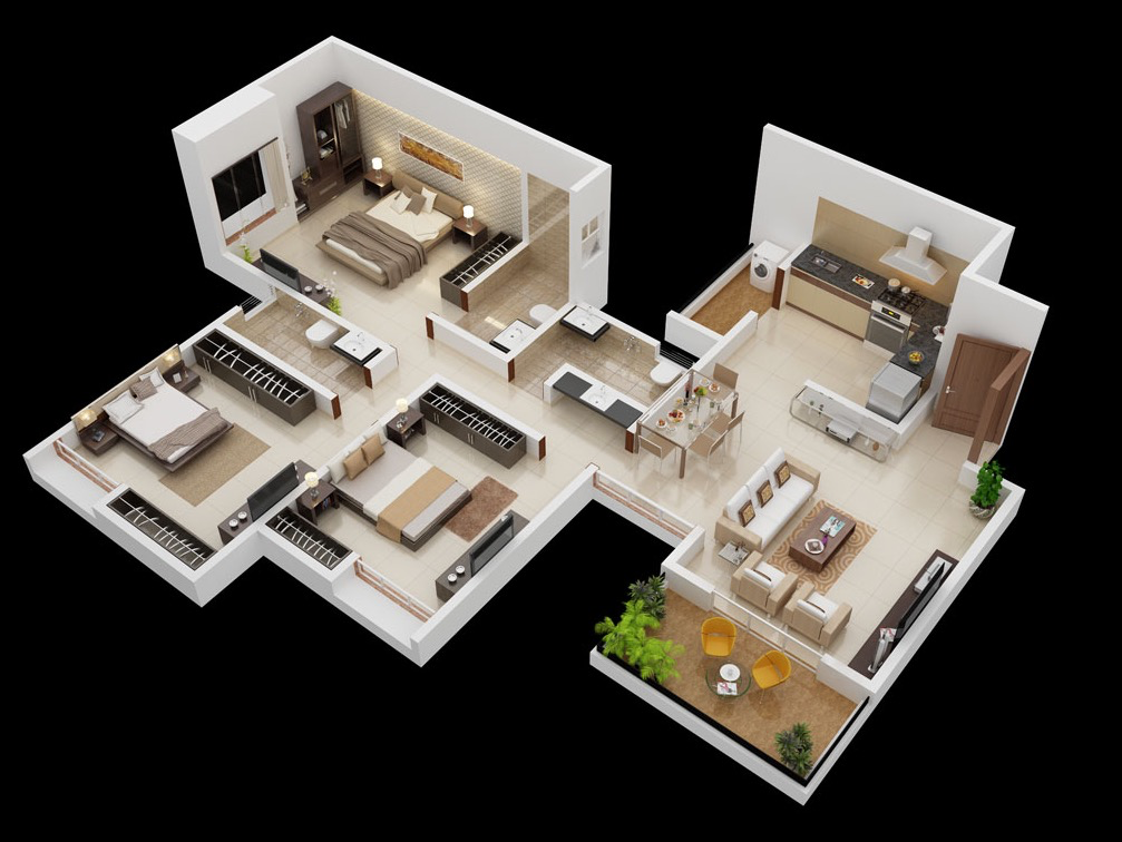 25 more 3 bedroom 3d floor plans for Simple 3 bedroom house floor plans