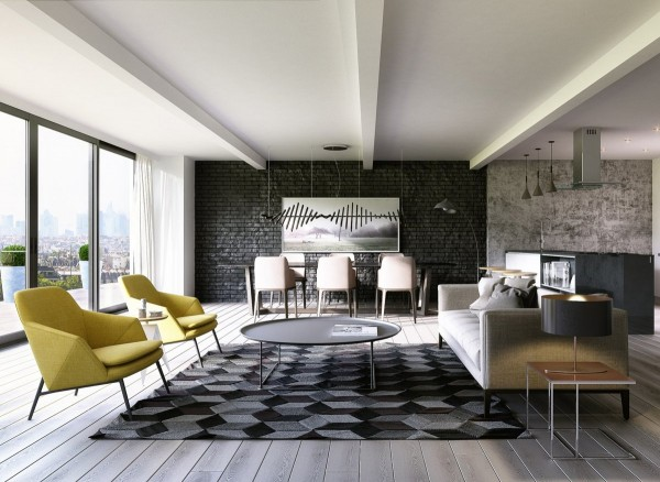 The exposed brick accent wall uses black brick, which is quite unique and gives the room a bit of youthful, rock n' roll vibe that goes easily along with the stunning urban views.