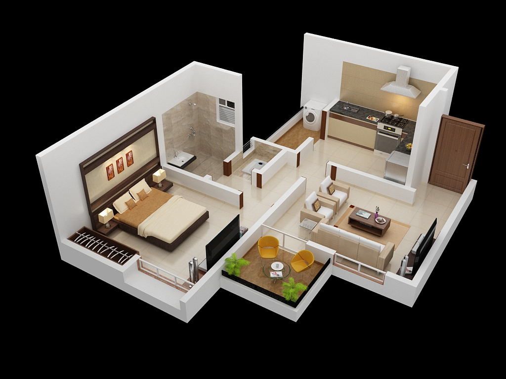 25 one bedroom houseapartment plans - One Bedroom House Interior Design