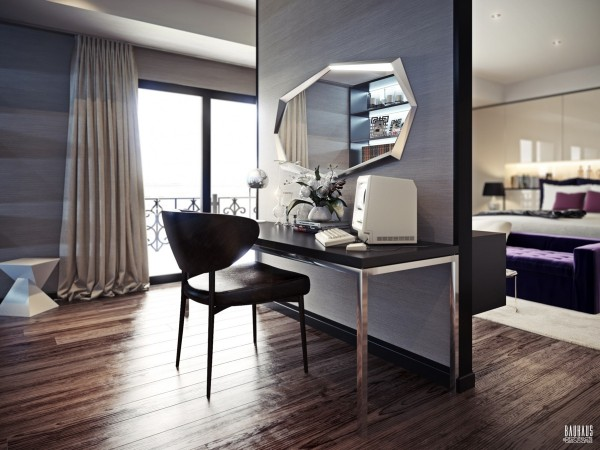 This bedroom also has a private dressing area that includes an ultramodern vanity and easy to organize wardrobe.