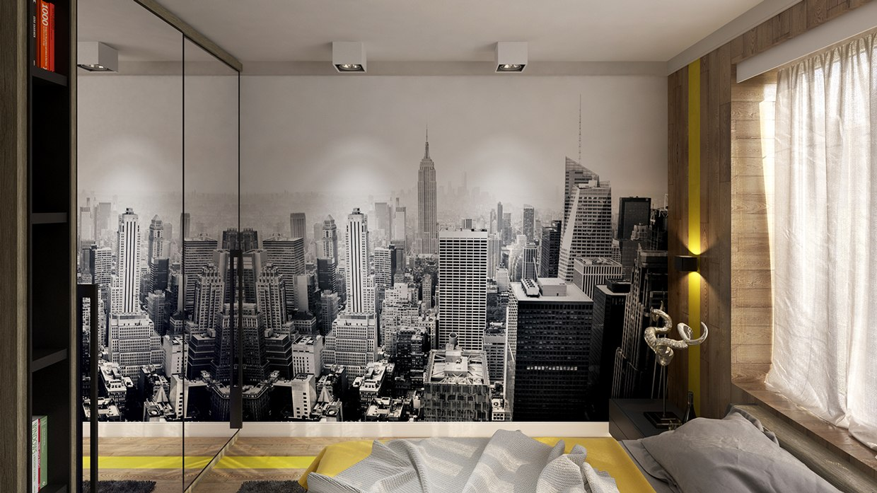 skyline wall graphic interior design ideas