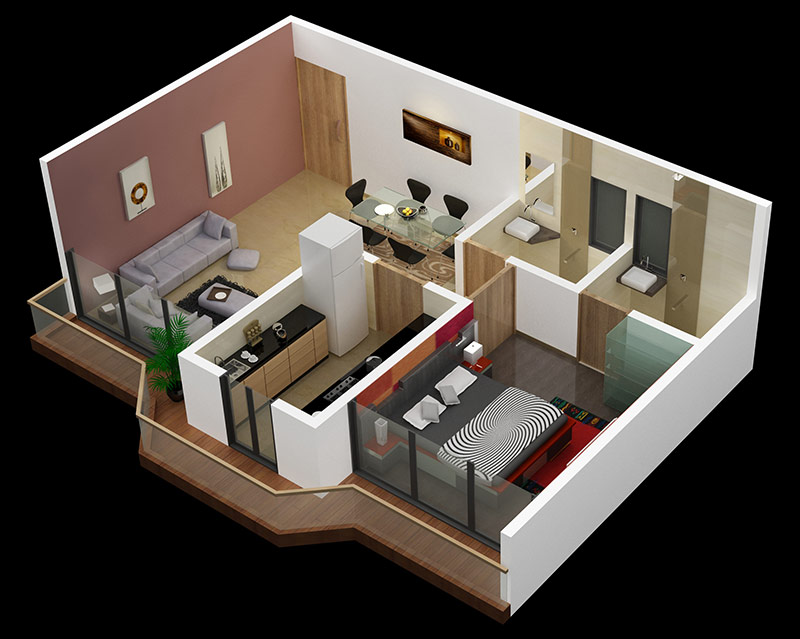 25 one bedroom house apartment plans for Apartment one bedroom design